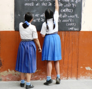 School girls at blackboard P1000065